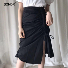 SONDR 2019  summer with smoke knit irregular cutting bust skirt of tall waist sexy split contracted in the fold long