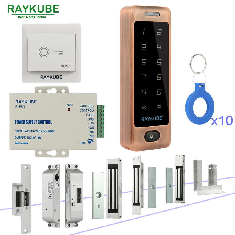 RAYKUBE DIY Access Control System Set With RFID Touch Keypad + Electronic Door Locks + Exit Button + Power Supply + RFID Keys rfid waterproof metal control locks with wg26 wg34 input output digital door locks for door access control system 10 keys k82