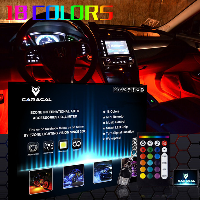 18 kleur led interieur auto kit onder dash voet goed seat binnenkant verlichting draadloze