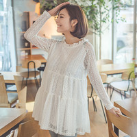 Summer Fashion Lace Maternity Wear Full Sleeve Maternity Clothes Tops Round Neck Pregnant Clothes For Pregnancy