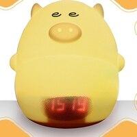 Night light Alarm clock Light Alarm Clock Atmosphere Lamp Lovely pig 7 colour light Pig