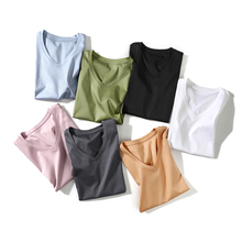Жасмин коллекция высокое количество Двусторонняя мерсеризованный хлопок разноцветные v-образным вырезом футболка с короткими рукавами