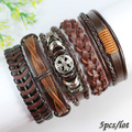 FL121-braided genuine leather bracelet,brown enthnic tribal wristband,new handmade wrap bangles men (5pcs/lot) free shipping