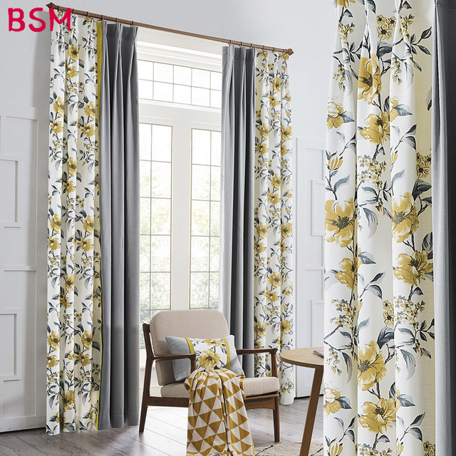 Yellow Blue Purple Flower Curtains For Balcony Living Room Country