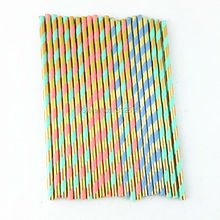 New Arrival! 10000PCS Mixed FOIL GOLD PInk Green Blue Paper Straw Metallic Gold Drinking Striped Wedding Year Party
