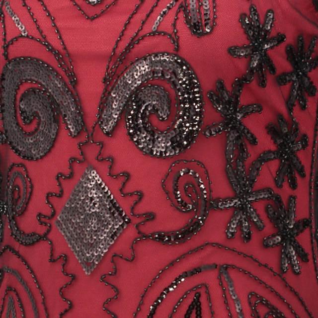 Women Black 1920s Vintage Gatsby Flapper Dress O-Neck Sleeveless Art  Nouveau Deco Sequin Beaded d26ca77f0166