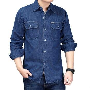 Loldeal Men Denim Shirt  Male Long Sleeve Shirts Casual Solid Color Slim Fit Dress color