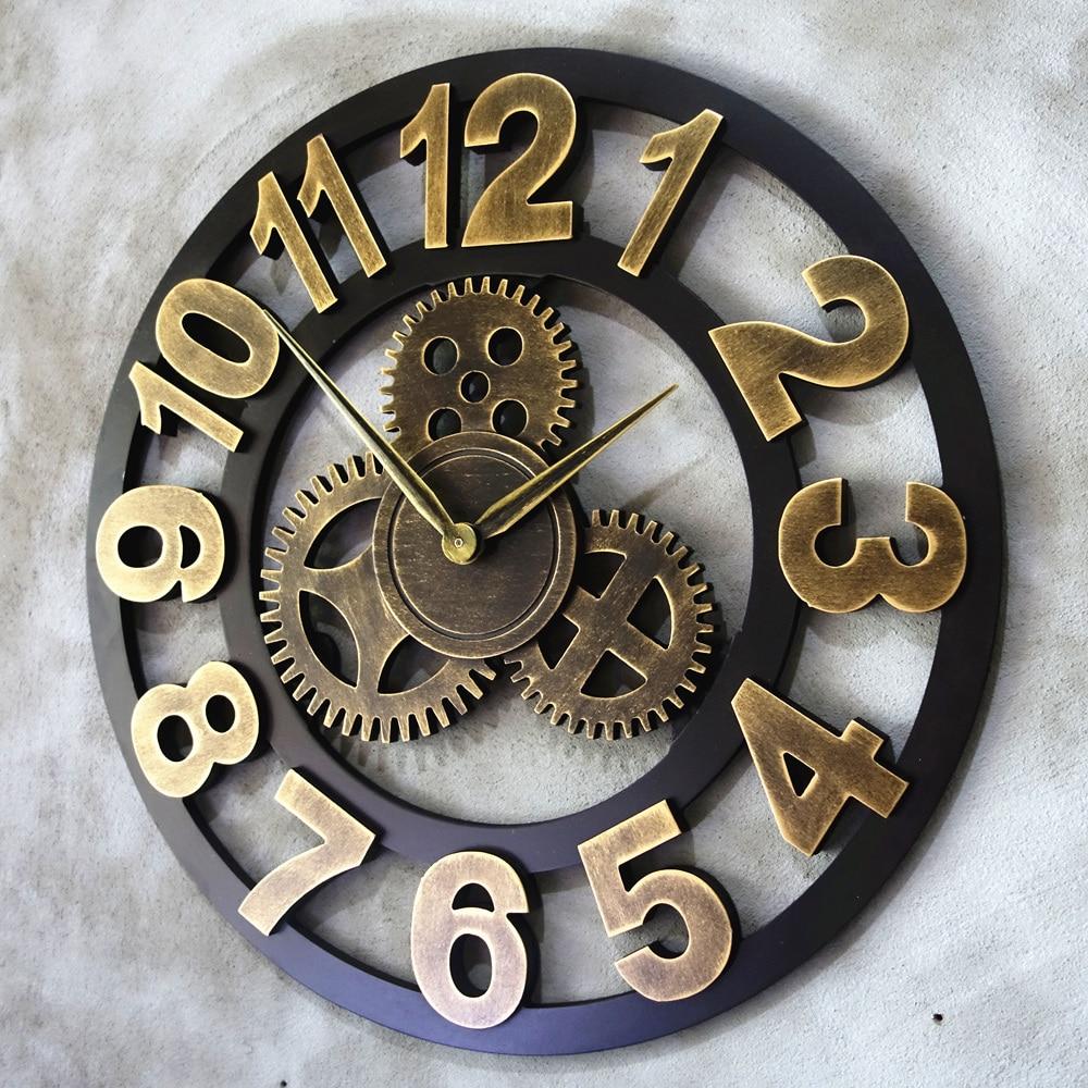 Art Big Speed Wooden Big Watch Hall Bell Handmade Oversized 3D Vintage Wall Clock Decorative Luxury