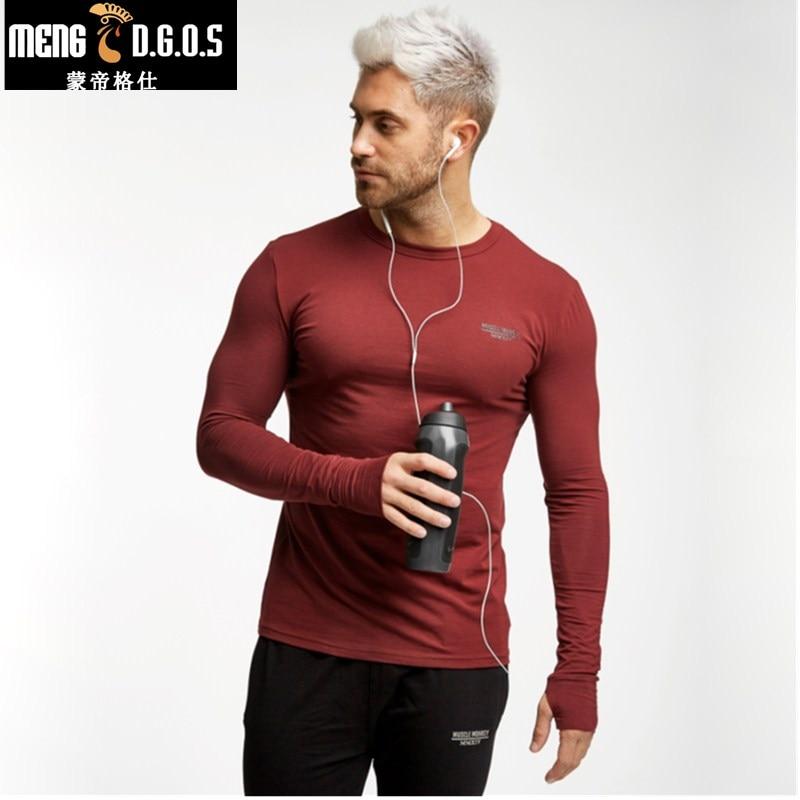 2017 Brand Autumn winter O neck Tops Tees Mens long sleeve T-shirt slim fit stretch men shirt Casual cotton t shirt