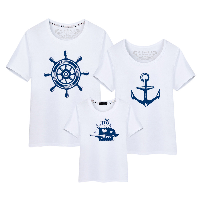 1Piece Summer Family t shirt New Family Look Anchor T Shirts Father Mother Kids Cartoon Matching Family Outfits