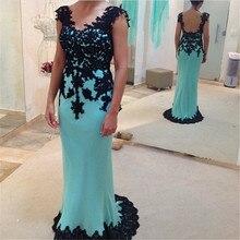 Tidetell Neue Ankunft Trompete V-ausschnitt Sleeveless Langes Abendkleid Appliques Blau Chiffon Promkleider 2016 Vestido De Festa