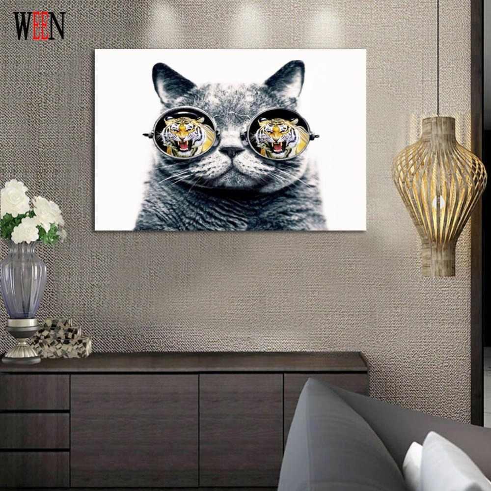 Tiger dan Cat Kanvas Lukisan HD Dicetak Hewan Dekorasi Rumah Dinding gambar Untuk Ruang Tamu One Piece TIDAK Dibingkai Cuadros Dekorasi 2017