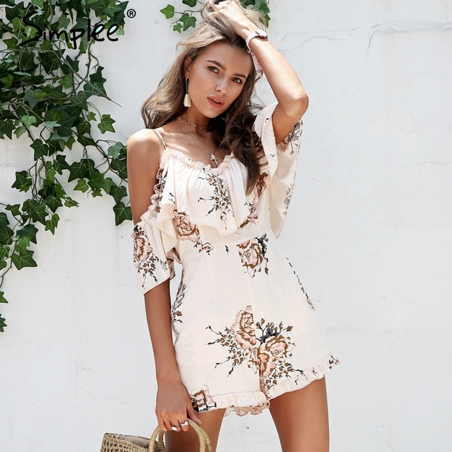 a354687eb2 Simplee Cold shoulder ruffle sexy playsuit women Boho floral print beach  romper high waist Backless summer