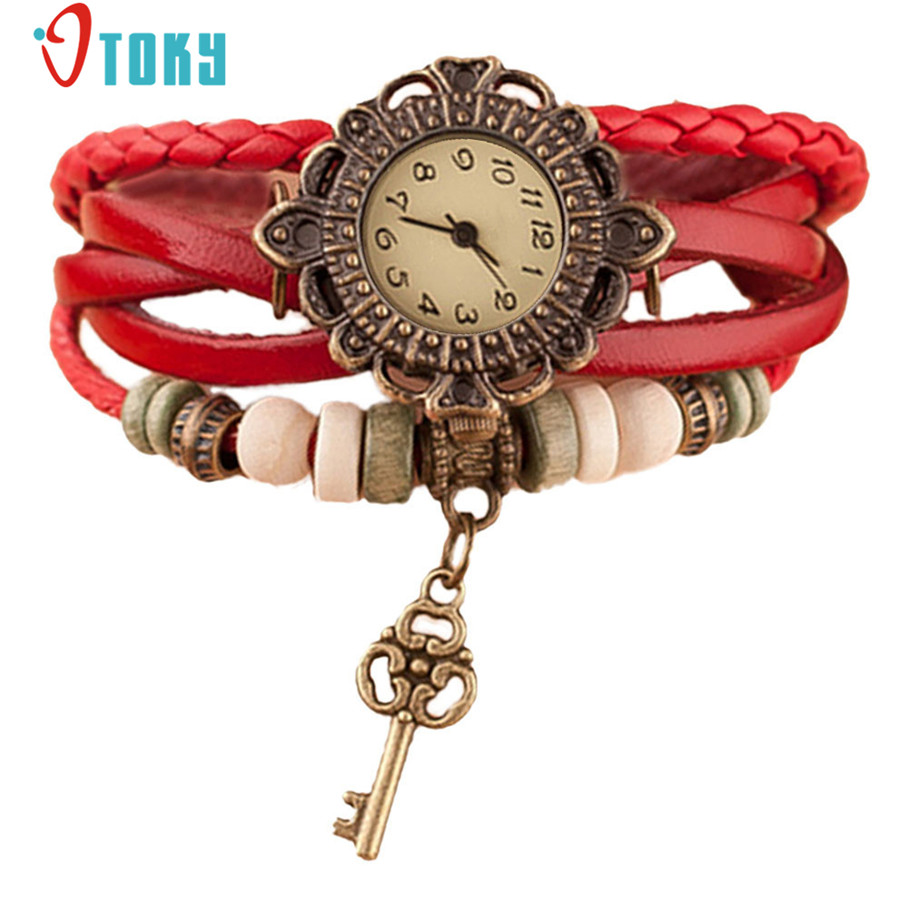 Hot Quartz Weave Around PU Leather Key Bracelet Lady Woman Wrist Watch Creative Mar14