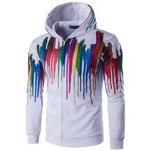 New winter men's fashion personality paint printing ink cardigan zipper Hoodie Hoody