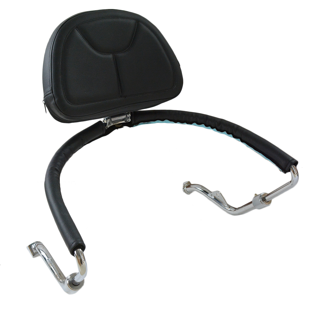 Black leather Motorcycle Adjustable Driver Rider seat Backrest Kit Custom Made For Honda Goldwing GL1800 2001-2017 16 15 14 13
