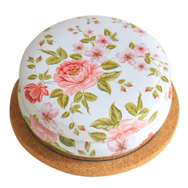 Flower Drawing Style Tea Sugar Coffee Sundries Storage Tin Box Kitchen Gift Portable Roud Shape Coin