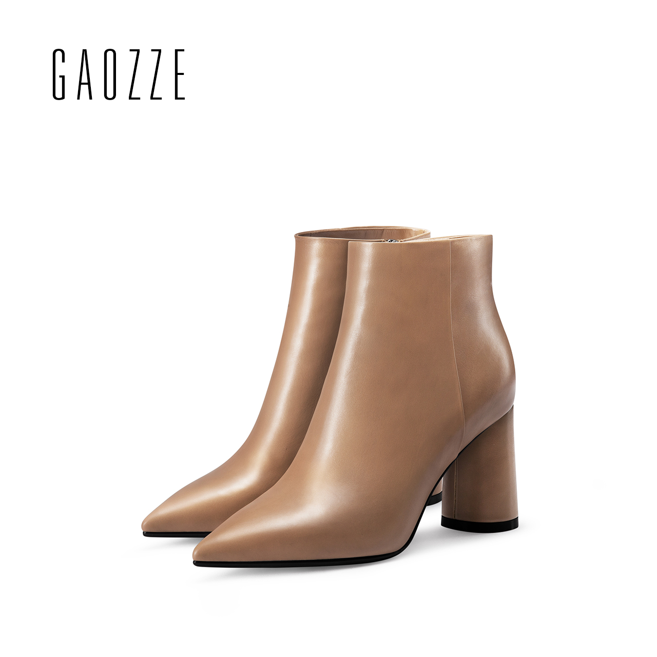 GAOZZE Thick heel women boots high-heeled genuine leather ankle boots for women pointed toe side zipper female boots 2017 autumn 2018 autumn new style genuine leather ankle boots pointed toe thick heel chelsea boots calf leather women boots ladies shoes