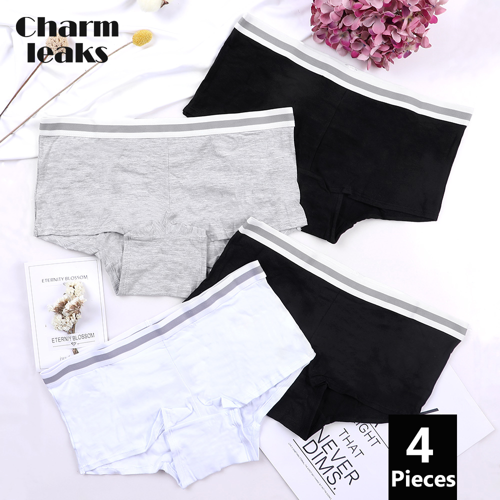Charmleaks Women Boyshort Underwear Cotton Soft Panties Briefs Solid classic moderate comfortable skin-friendly lingerie