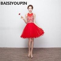 Милые 8th Класс Платья для выпускного Vestidos De 15 anos Курто красные короткие Бальные платья с кристаллами