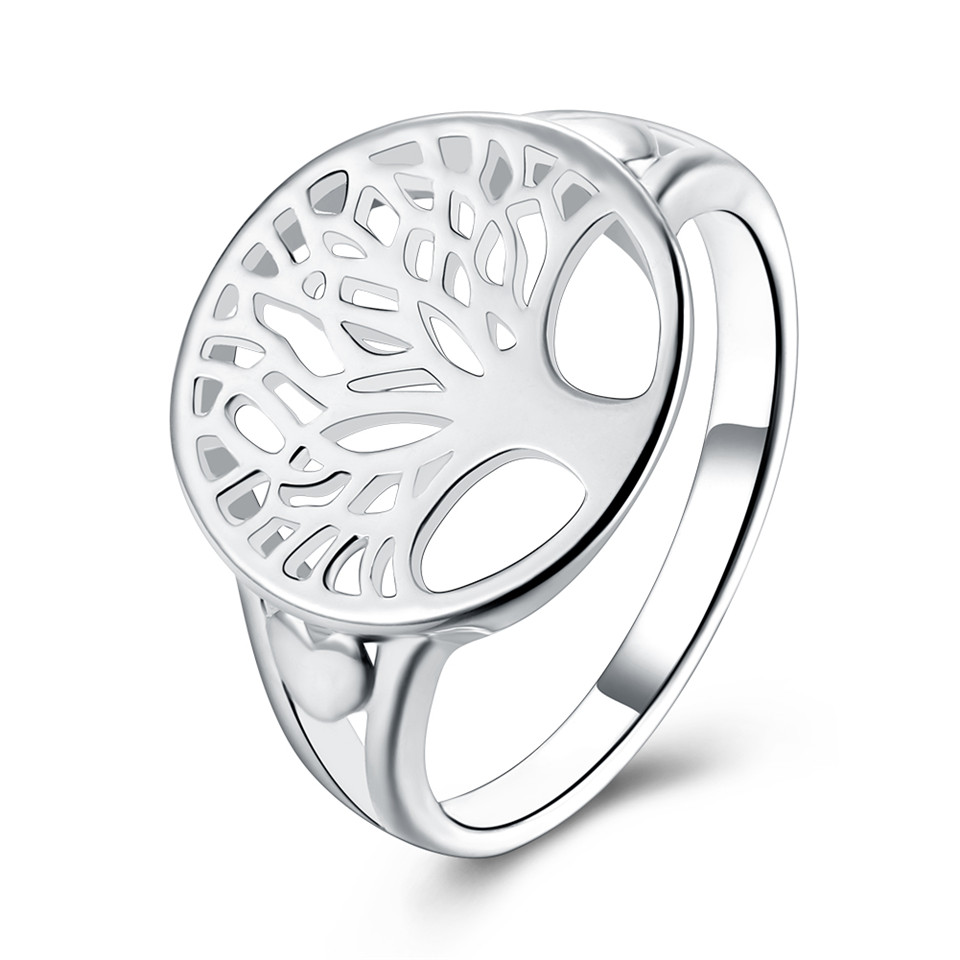 Tree of Life Ring Classic Accessories Jewelry 925 stamped silver plated Wisdom Tree Rings For Women New Bijoux