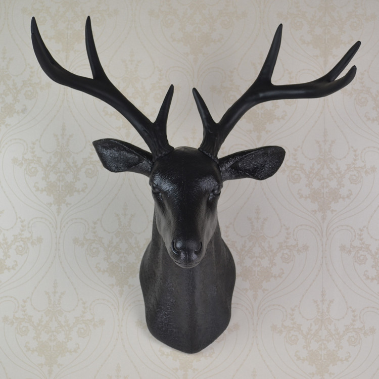 Ealisen Wall Mounted Black Whitetail Buck Bust Deer Head Art Plaque