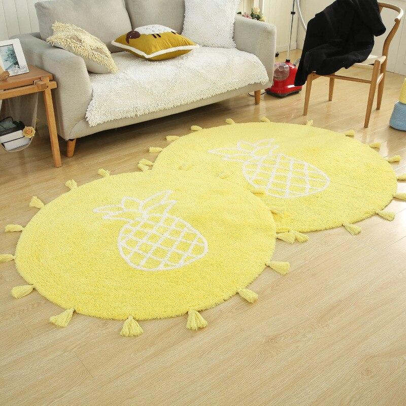 Accueil avec tampon circulaire en coton motif ananas étude tapis de protection de sol peut être lavé à la machine tapis fait main de style nordique