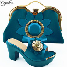 efac4ae97a17bc Haute classe parti Africain slip-sur sandale chaussures et ensemble de sacs  à main QSL003A, hauteur du talon 10 cm