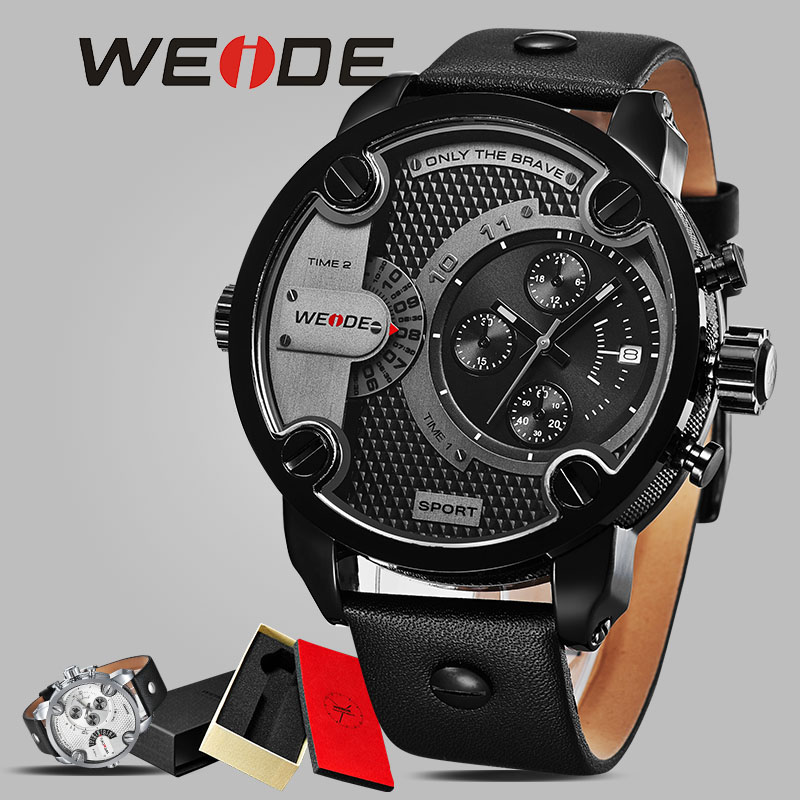 WEIDE décontracté en cuir véritable hommes montres de sport montre-Bracelet armée horloge étanche Bracelet noir grand cadran montres mécaniques