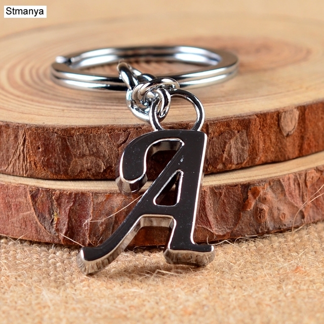 NEW DIY A-Z Letters key Chain For Men Silver Metal Keychain Women Car Key  Ring Simple Letter Name Key Holder Party Gift Jewelry d72425abe