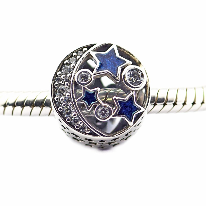 FL471 Beads Fits Pandora Charms Bracelets Vintage Night Sky Shimmering Midnight Blue Enamel&Clear CZ Charm Beads For Jewelry Making  (3)