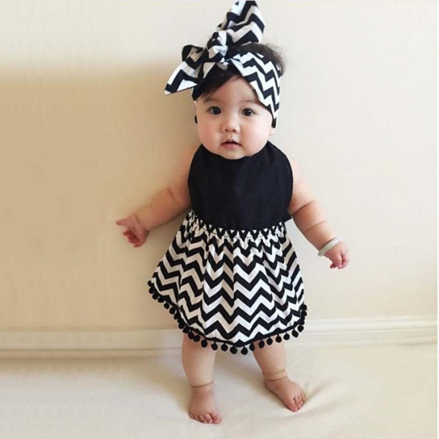 2PCS Toddler Baby Girls Sleeveless Striped Dress + Hair band Set Outfit soft comfortable vestido infantil July 23