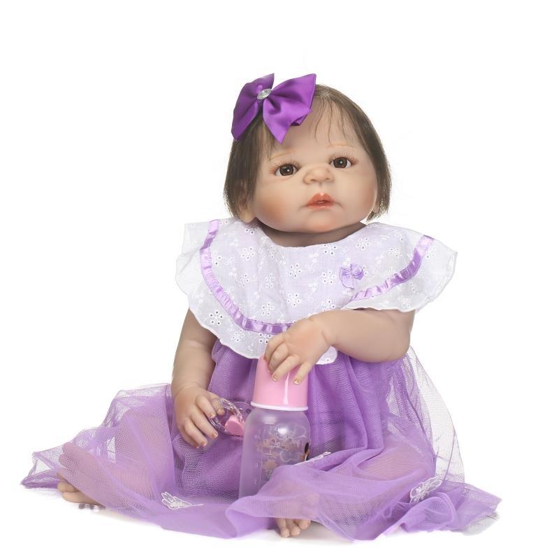 silicon reborn babies full body baby dolls girls gift toy soft vinyl toys for Children's Day 56cm blue eys open waterproof bath недорго, оригинальная цена