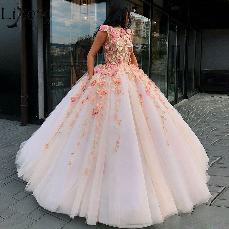 Charming   Prom     Dresses   With 3D Floral Appliques Ball Gown Evening   Dress   With Free Petticoat Floor Length Party Formal   Dress