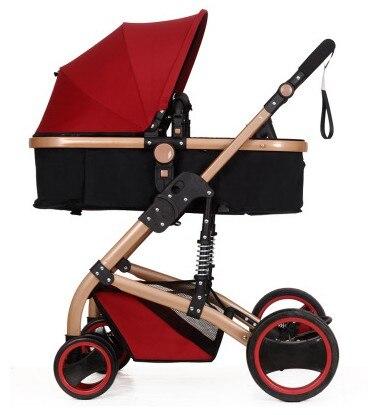 High summer landscape stroller can sit lie pram portable folding two-way four-wheel shock baby cart