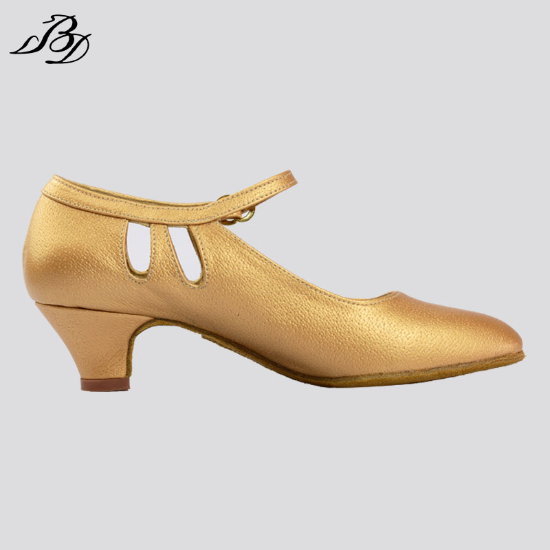 ФОТО Girls Ballroom Dance Shoes BD Dance Model 502 Dancesport Sliver Tan Color Low Heel Children Latin Sandal Waltz Quickstep Foxtrot