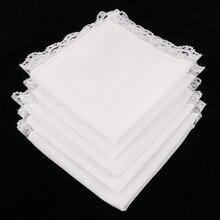 Новинка, 5 шт., женские хлопковые носовые платки с вышивкой, кружевные белые носовые платки для свадьбы, еды, вытирания пота