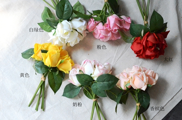 real touch rose bouquet of 6 roses artificial flowers wedding home decoration white pink yellow purple orange