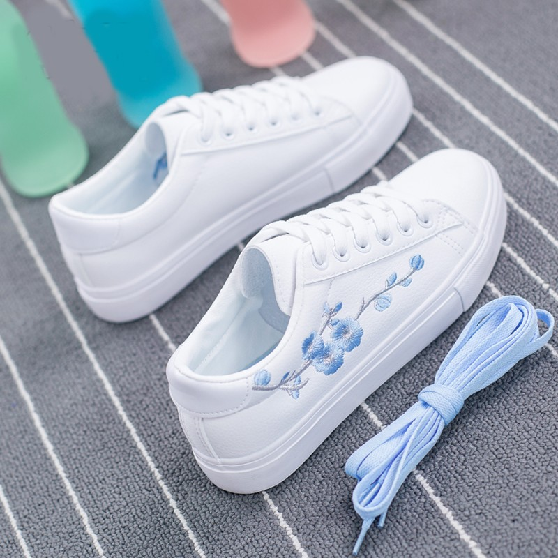2018 new fashion women shoes casual high platform floral PU leather women casual white embroidery Vulcanize shoes sneakers