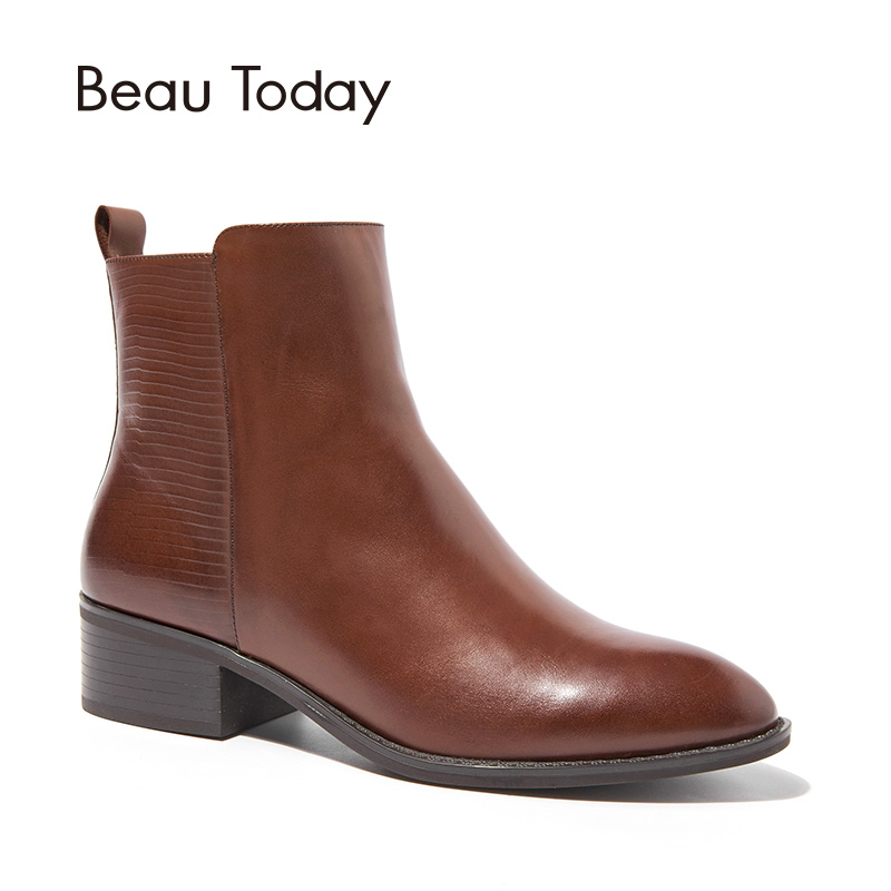 BeauToday Boots Women Zipper Brand Genuine Leather Calfskin Pointed Toe Quality Ankle Boot Lady Shoes Handmade 03228 beautoday loafers women top quality brand flats genuine leather metal decorated square toe calfskin shoes mix colors 15701