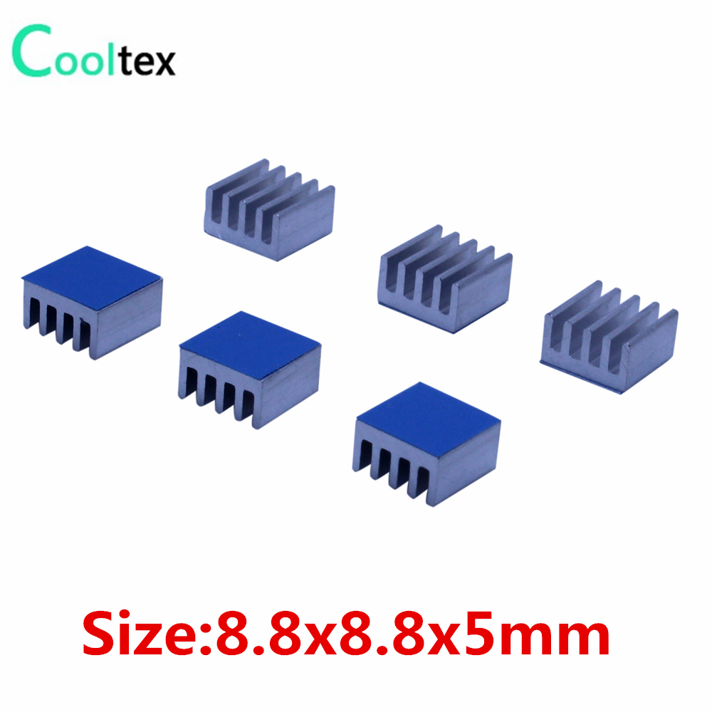 50pcs 8.8x8.8x5mm Aluminum Heatsink  Radiator Cooling Cooler For Electronic Chip IC RAM LED With Thermal Conductive Tape 20pcs lot aluminum heatsink 14 14 6mm electronic chip radiator cooler w thermal double sided adhesive tape for ic 3d printer