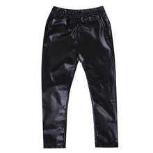 Infant Toddler Baby Kids Girls Black Stretchy Faux Leather S