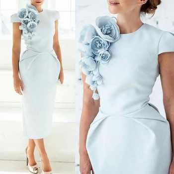Arabic Tea Length Satin Evening Dresses Party Elegant for Women Dubai Caftan Zipper Cap Sleeves Formal Gown 2019 - DISCOUNT ITEM  11% OFF All Category