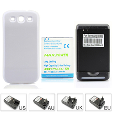 High Capacity 4500mAh Extended Battery + White Back Case Cover +Wall Charger For Samsung Galaxy S 3 III S3 i9300