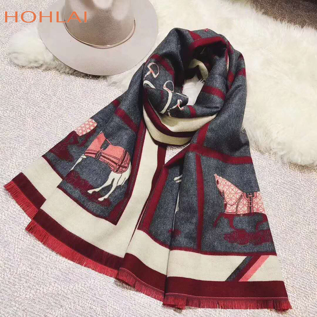 Luxury brand Winter New Carriage Scarf Warm Shawl Thicken Tassels Horse cashmere-like fashion show poncho cape womens pashmina 5