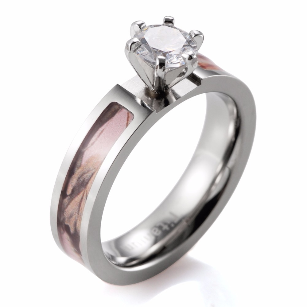 Women Pink Camo Engagement Ring Titanium Pink Realtree Engagement Ring  Wedding Band 6 Prong Setting Round