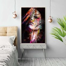 Canvas Painting figure Picture Wall Art Pictures Prints Colorful Woman on Canvas portrait Home Decor Abstract Wall Poster(China)