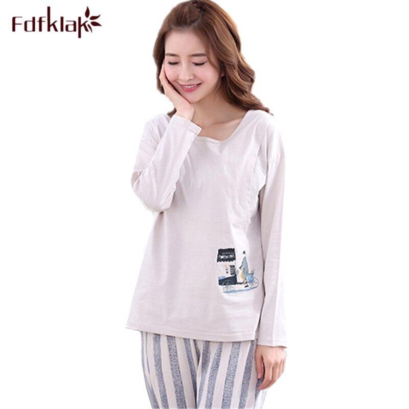 Fdfklak High-grade maternity nightwear pajamas set pregnant women nursing pajama autumn winter cotton sleepwear pijama maternal