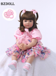 """24"""" Silicone Reborn Toddler Baby Doll Toys 60cm Princess Girl Like Alive Bebe Girls Brinquedos Limited Collection Birthday Gift(China)"""
