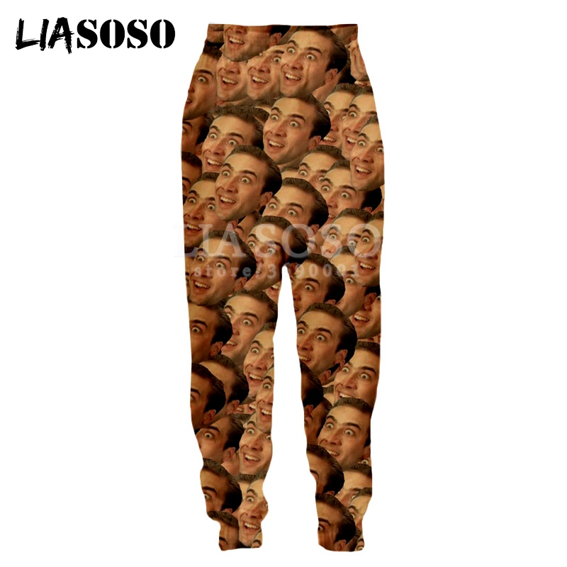 LIASOSO 3d Print Men Women Sweatpants Nicolas Cage Crazy Funny Stare At You Face Casual Sweat Pants Joggers Cool Pants X1397